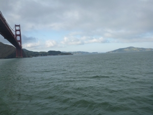 Looking back at Cavallo point from our boat ride in the bay
