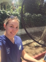 Dr. Sanders with her favorite koi net